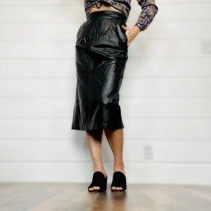 Vintage 90s Black Leather Midi Skirt | Size 28